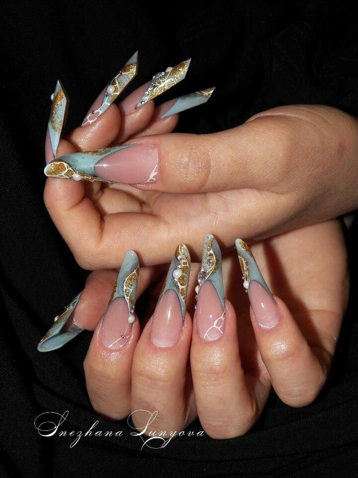 Russian almond stiletto nails | pipe nails | edge nails | nail art ...