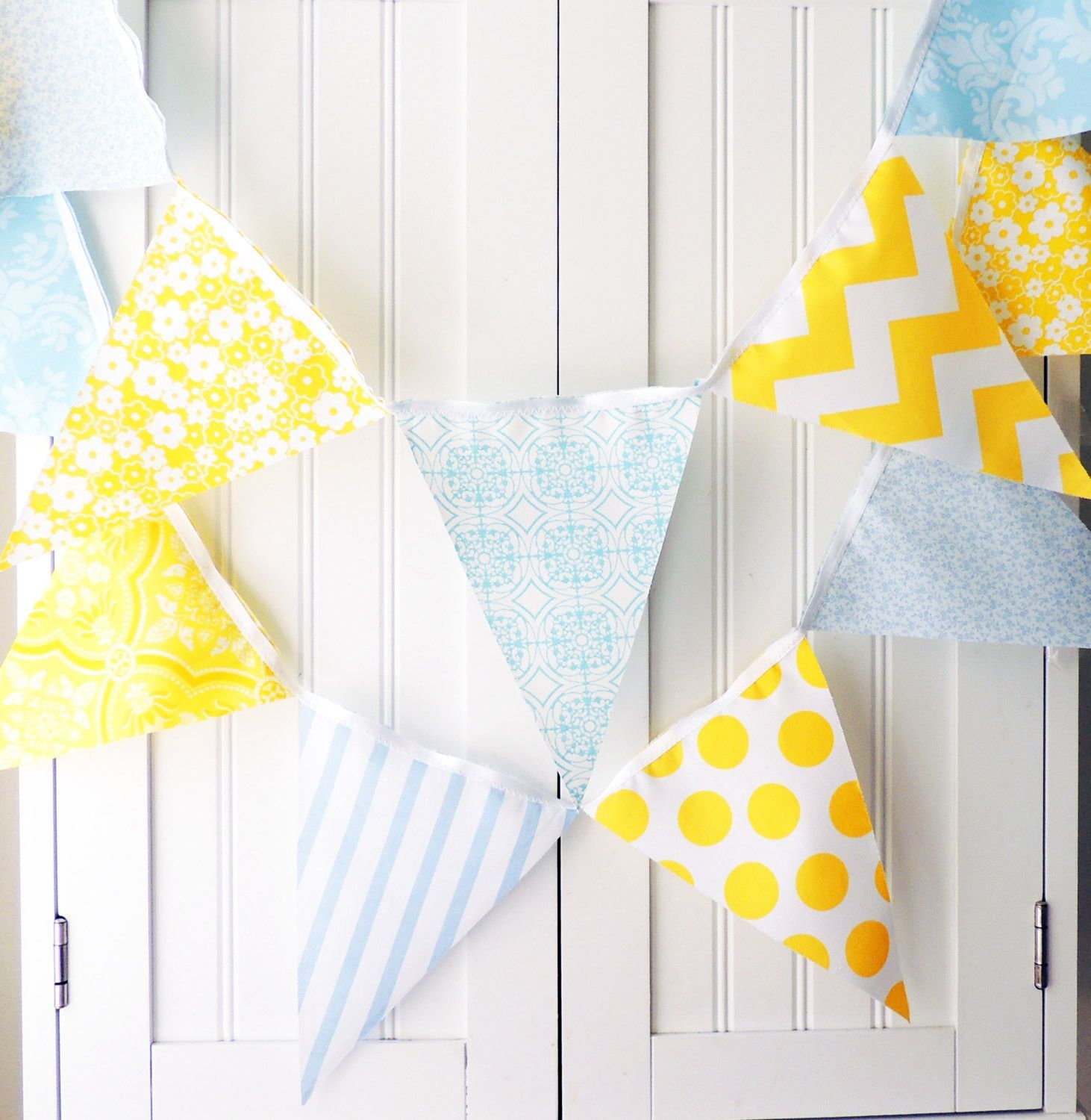 Bunting banner fabric pennant flags neutral baby nursery shower