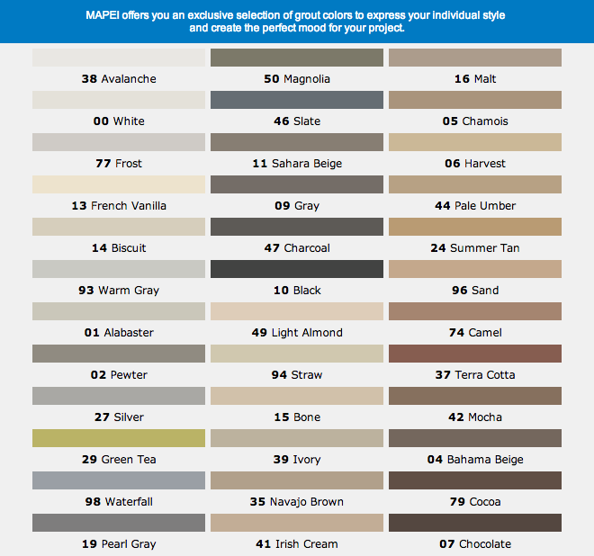 Mapai grout color chart avalanche for bright white grouts