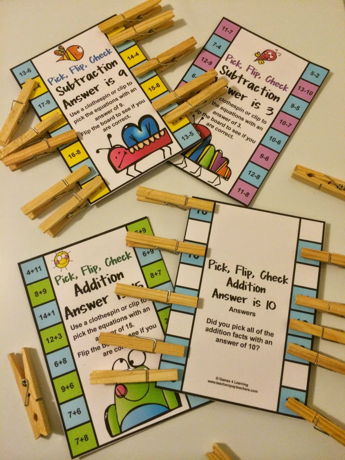 addition and subtraction pick flip check cards resources pinterest math math games and. Black Bedroom Furniture Sets. Home Design Ideas