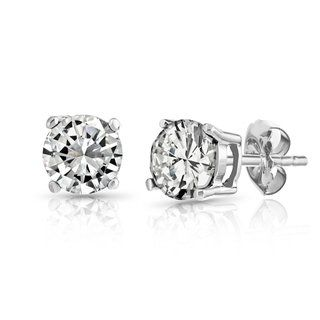 Pori 14k White Gold Cubic Zirconia Stud Earrings (Size  3mm ... 44a145c251