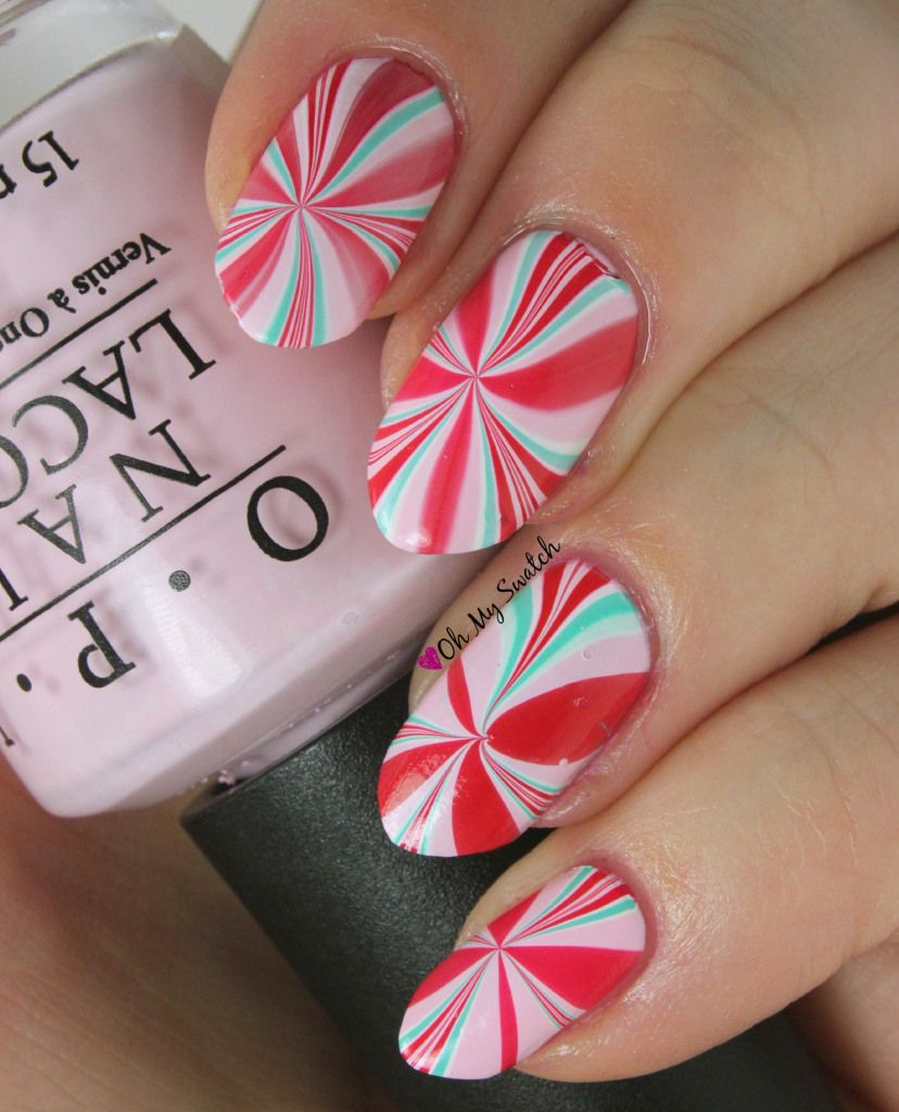 Water Marble Peppermint Swirl Oh My Swatch Nail Art
