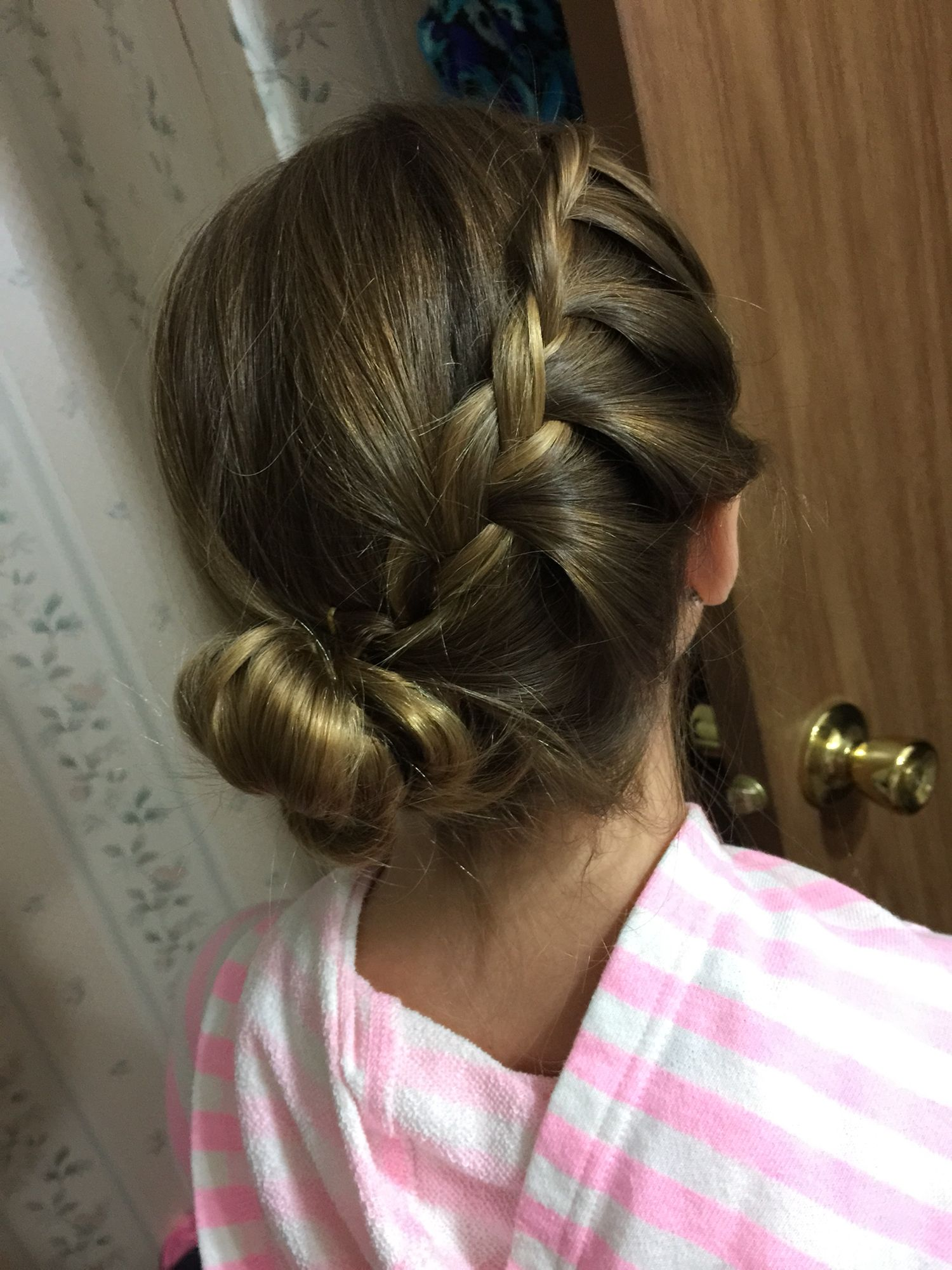 Did my sisters hair into a side french braid and twisted it into a
