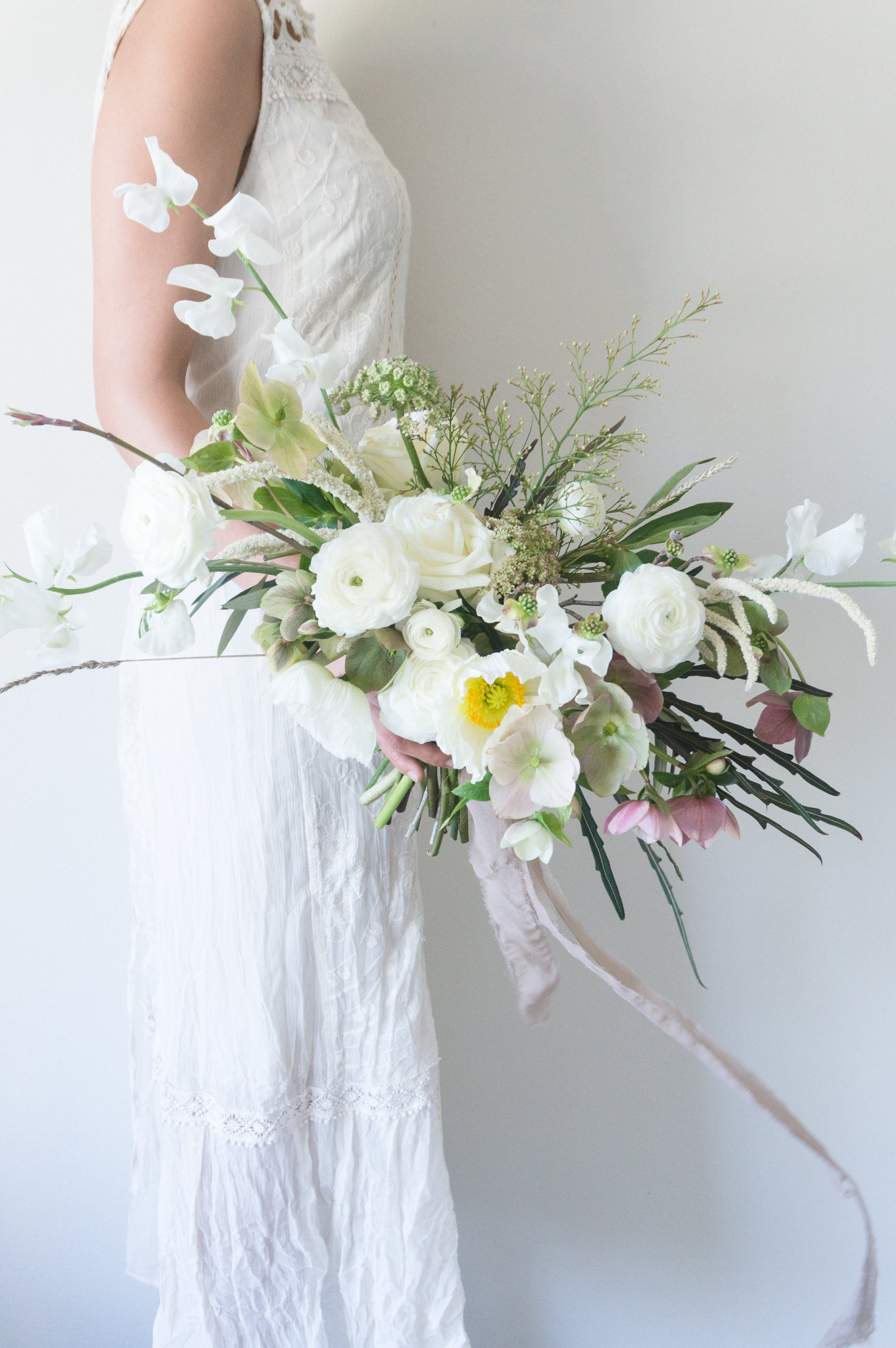 Bridal Bouquet Bough Twig Floral Styling Studio White