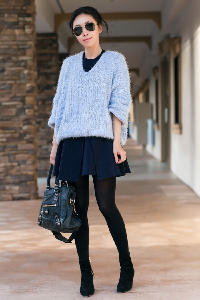Chicwish V-Neck Fluffy Oversize Sweater in Blue, Cameo Bless This ...