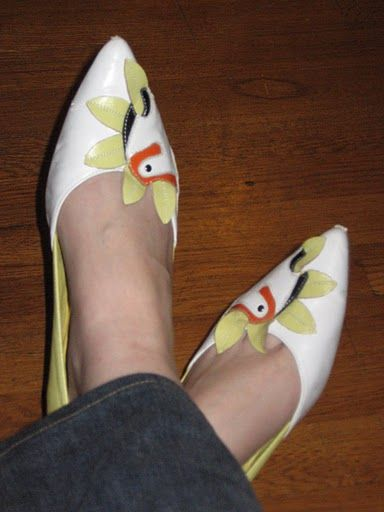 """""""rooster shoes"""", thanks to a naked lady party. score!"""