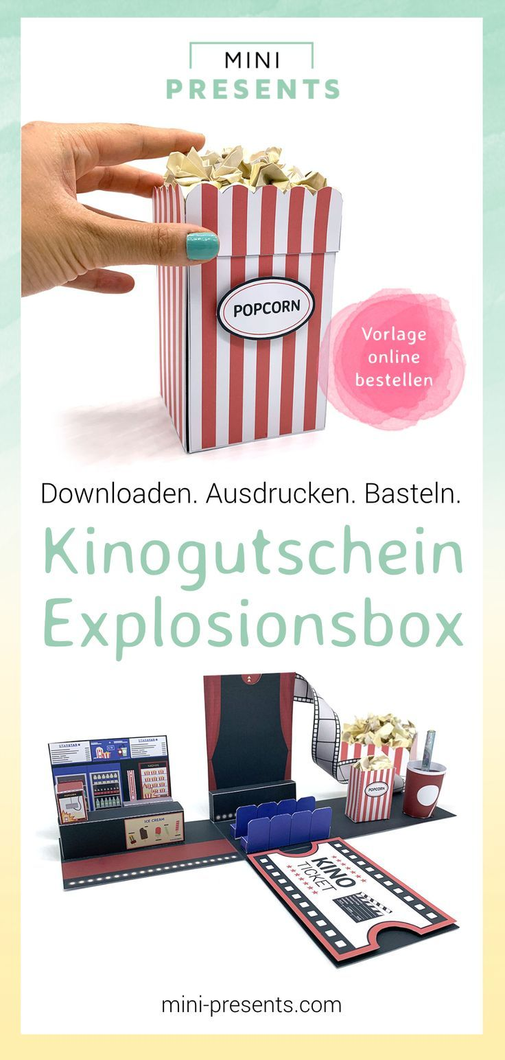 mini-presents | Kinogutschein Explosionsbox basteln | Geschenkideen & Party Deko zum Ausdrucken und