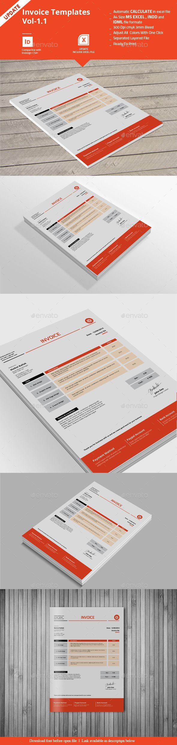 Invoice Templates Vol  Template Proposal Templates And Font Logo