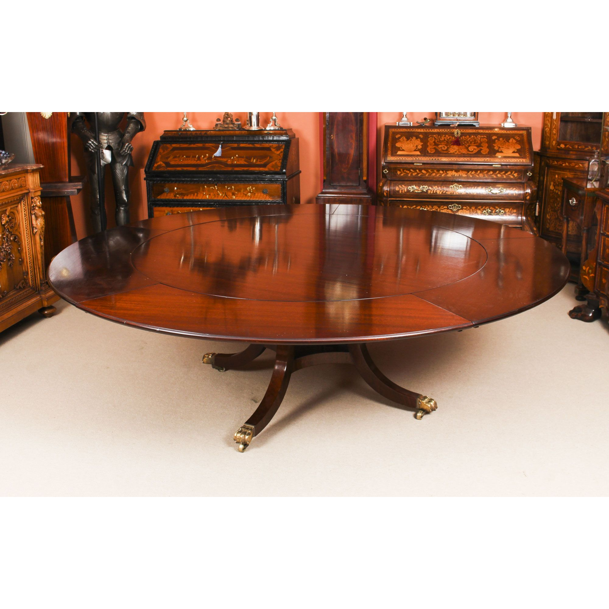 Vintage 7ft 4 Diam Jupe Mahogany Dining Table By William Tillman