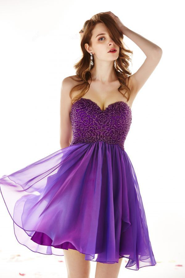 Sparkly Luxury Beading A-line Purple Chiffon Homecoming Dress ...