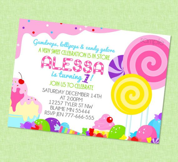 Sweet Candy Invitation Available With or Without Photo Candy Theme