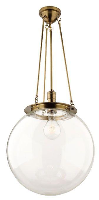 brass + glass globe pendant