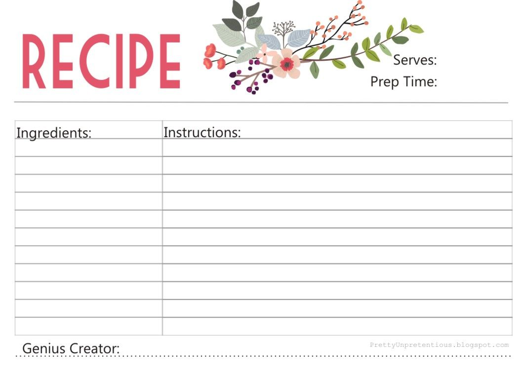 enjoy a free printable recipe card designed  with love  by