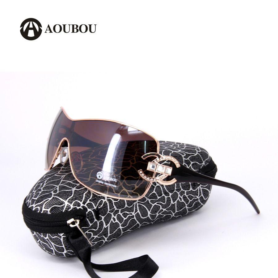 AOUBOU Luxury Diamond Logo Silver Sunglasses Women Brand Design ...