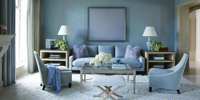 Farbige Wandgestaltung Wandfarbe Taubenblau Wohnzimmer