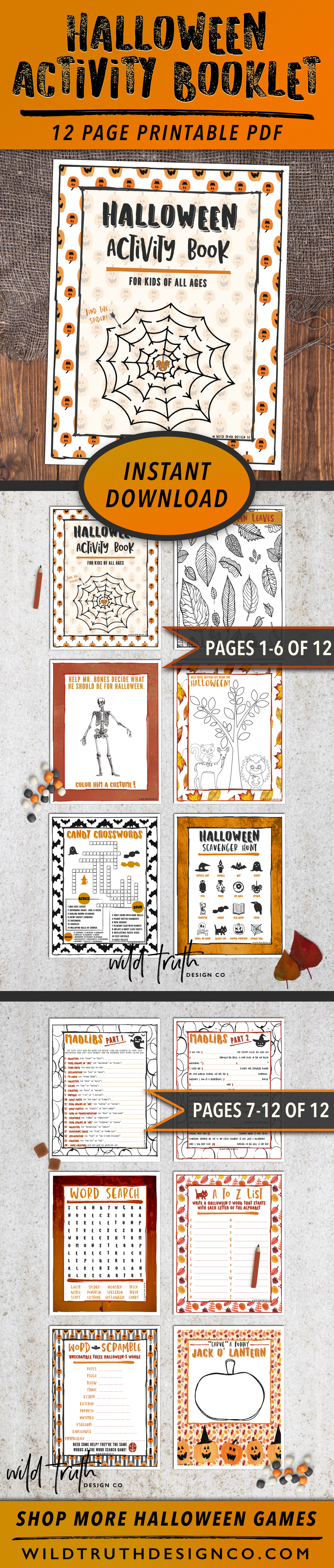 Kids Halloween Activity Pages