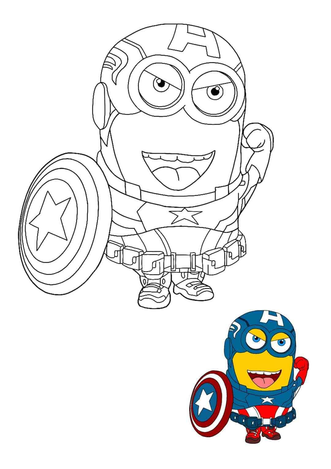 Minion Captain America Coloring Pages 4 Free Printable Coloring Sheets 2020 Minion Coloring Pages Captain America Coloring Pages Avengers Coloring Pages