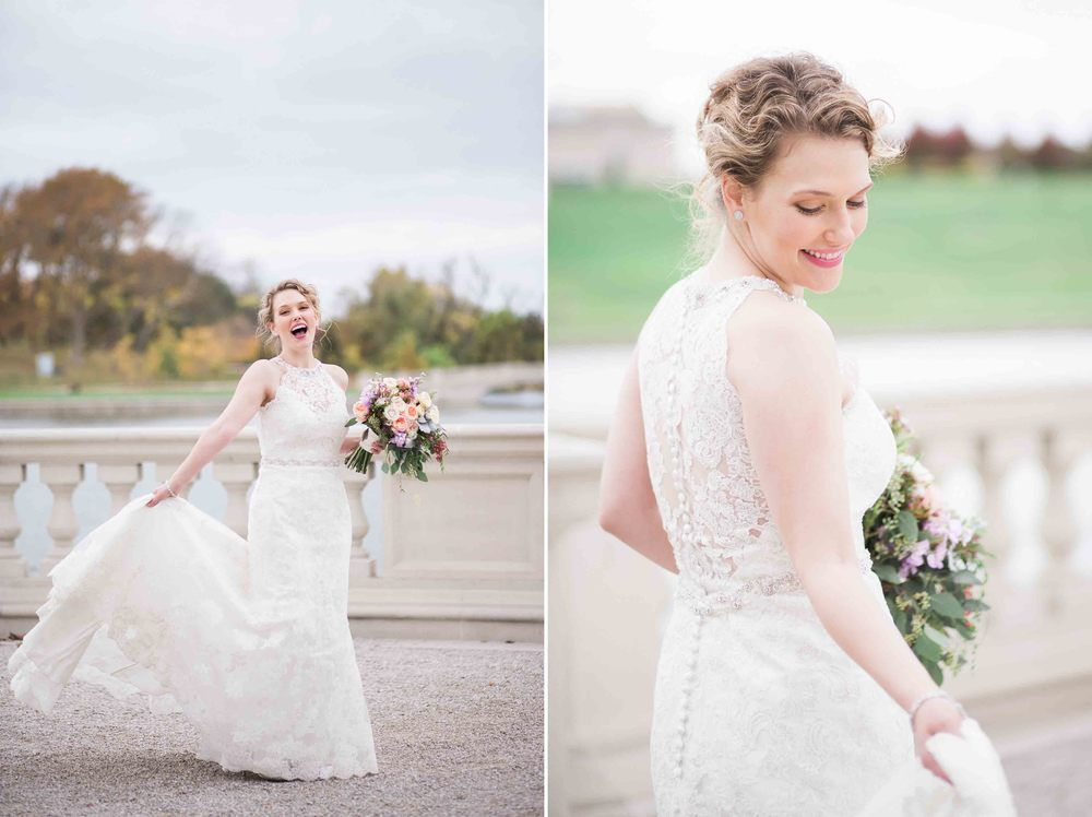Bride portrait pose ideas at St. Louis Forest Park Grand Basin. Kristen and Jeff had a fall October wedding documented by Erin Stubblefield Weddings and Portraiture Wedding Photographer