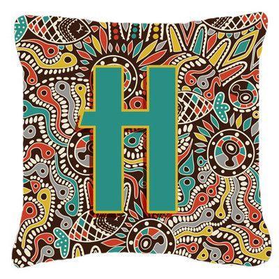 "Caroline's Treasures Letter Retro Tribal Monogram Indoor/Outdoor Throw Pillow Size: 18"" H x 18"" W x 5.5"" D, Letter: H"