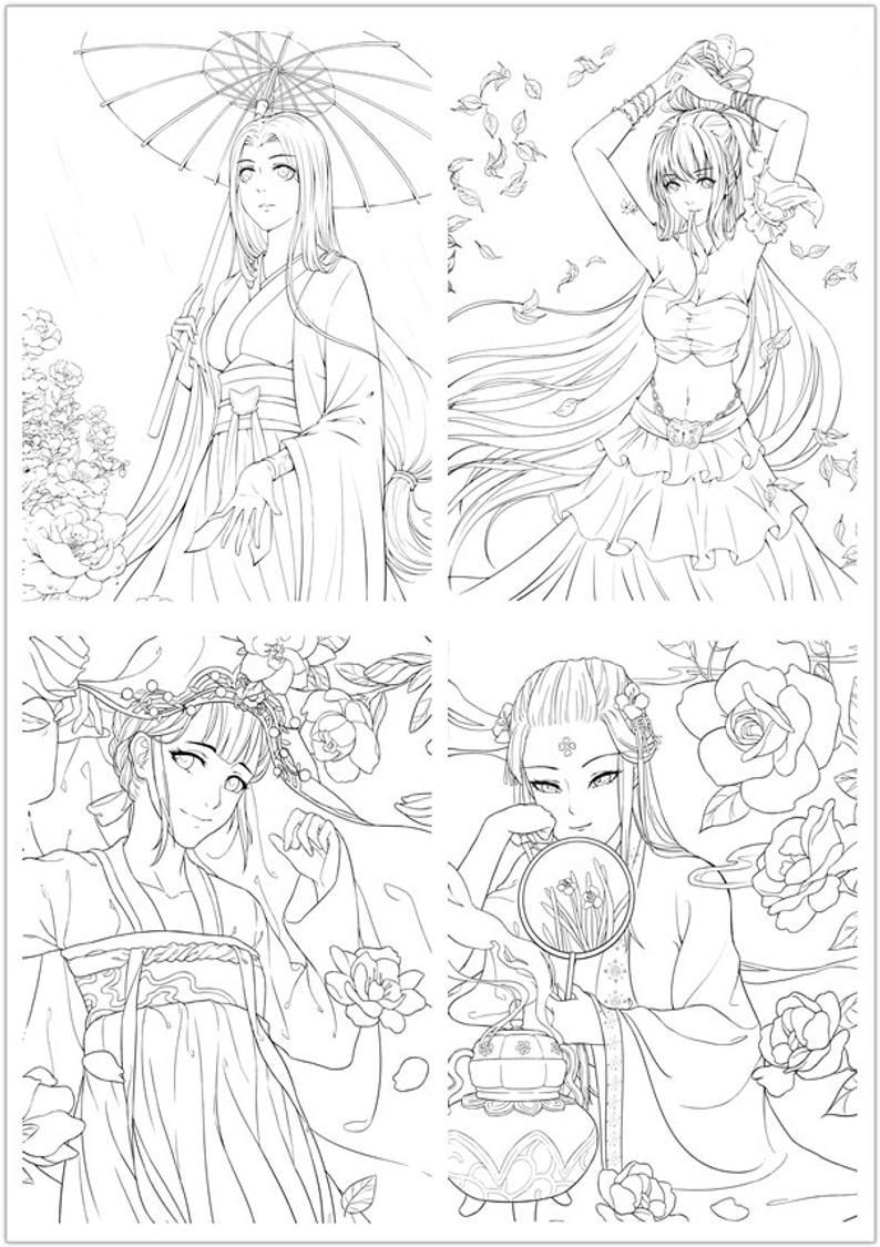 New Colouring Book For Adults Chinese Portrait Coloring Etsy In 2021 Cartoon Coloring Pages Cute Coloring Pages Illustration Character Design [ 1125 x 794 Pixel ]