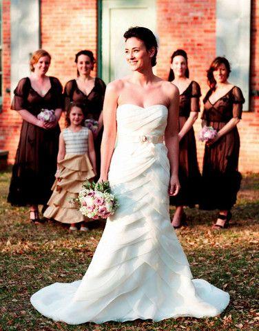 Priscilla Of Boston Cascading Pleated Wedding Dress