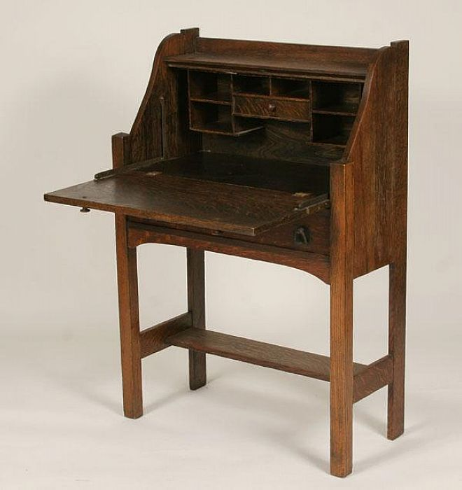 Antique Writing Desk  Small Portable Ladies Writing Desk : Mission Oak  Slant Top Antique Secretary