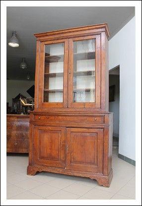 Antica Credenza poco profonda arte povera in legno massello di Pino ...