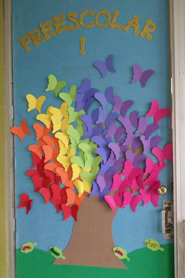 Buttefly Walls Photo Classroom Door Classroom Preschool Door