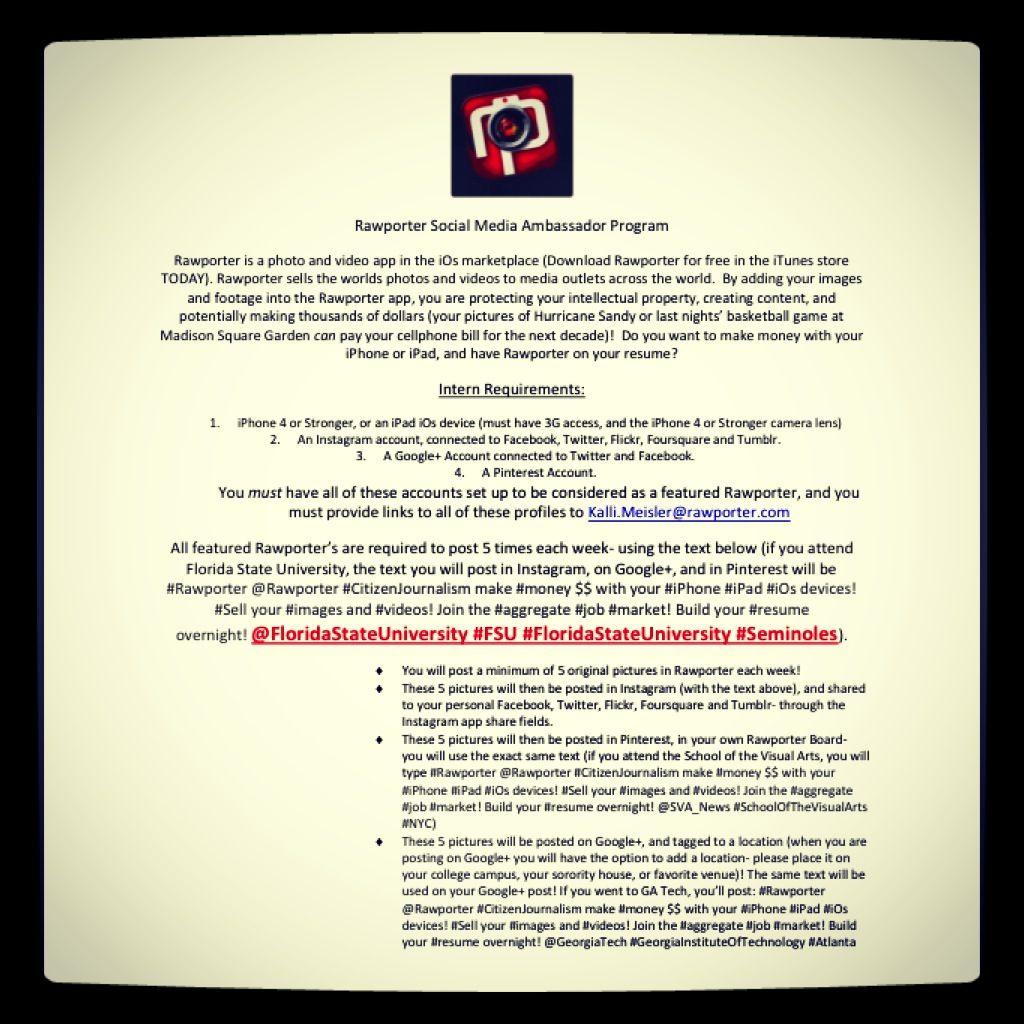 Rawporter Social Media Ambassador Program Rawporter is a