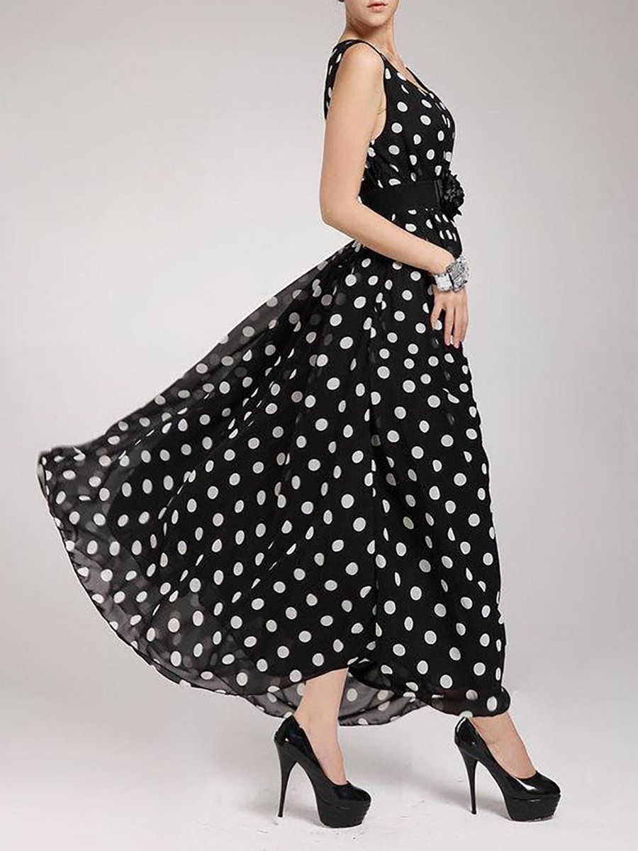 Black women going out chiffon sleeveless floralprint polka dots