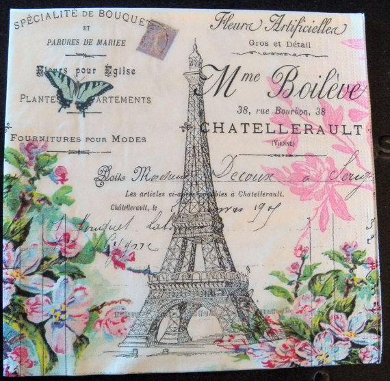 2 Serviettes en papier Paris Tour Eiffel Decoupage Paper Napkins Paris Capitale