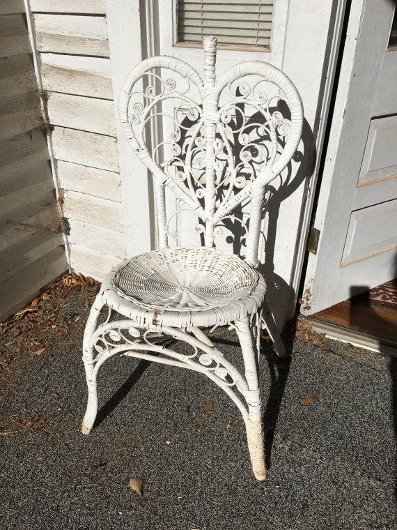Vintage Heart Shaped White Rattan Chair Shabby Chic Cottage Chic