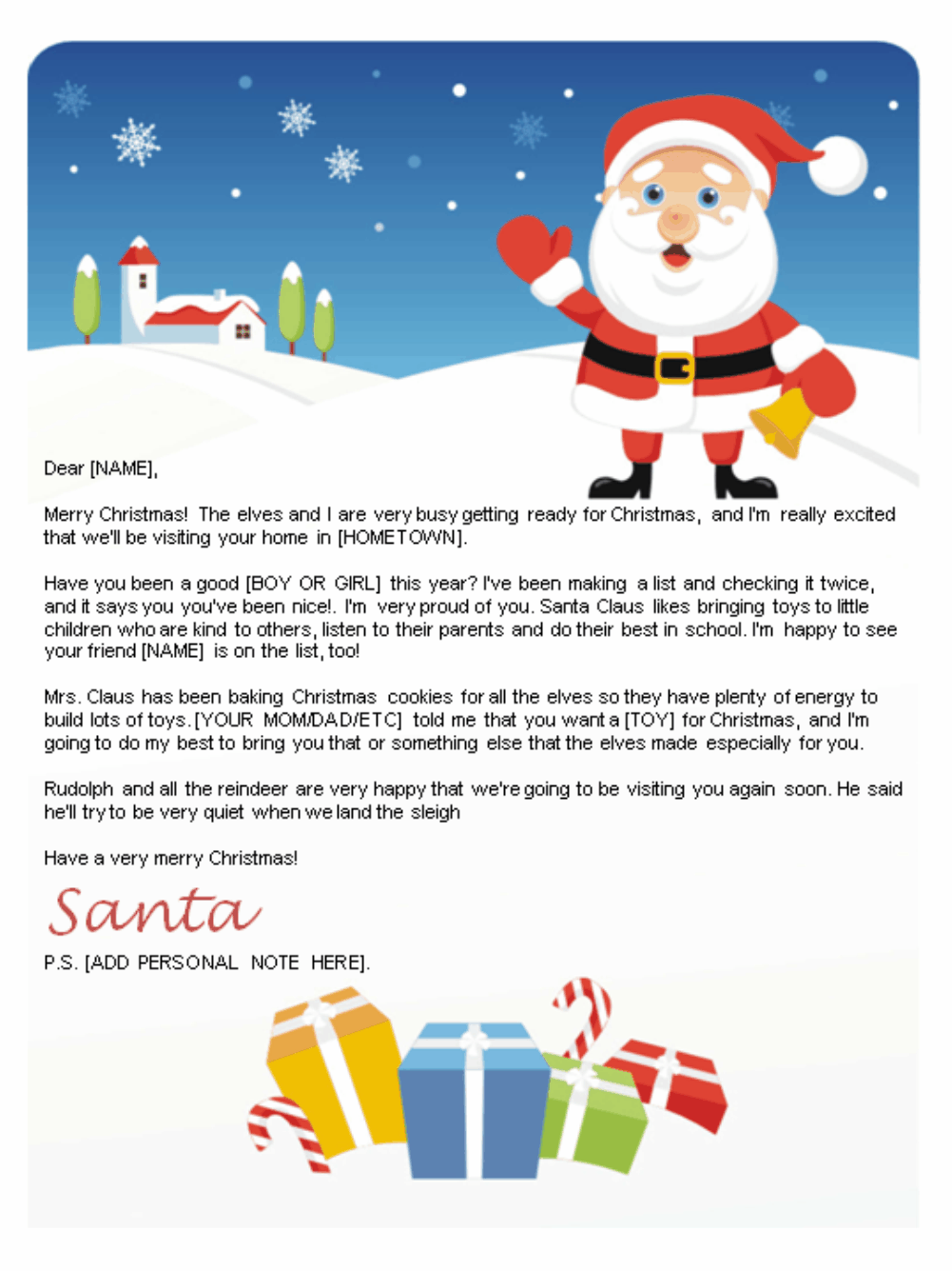 Free letters from santa santa letters to print at home for Generic letter from santa