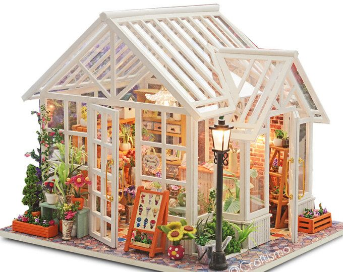 01 24 diy miniatur puppenhaus kit sosa wei glas gew chshaus blume blumengesch ft mit licht und. Black Bedroom Furniture Sets. Home Design Ideas