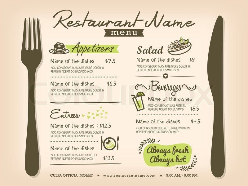 Restaurant Placemat Menu Design Template Layout Vector - menu design template