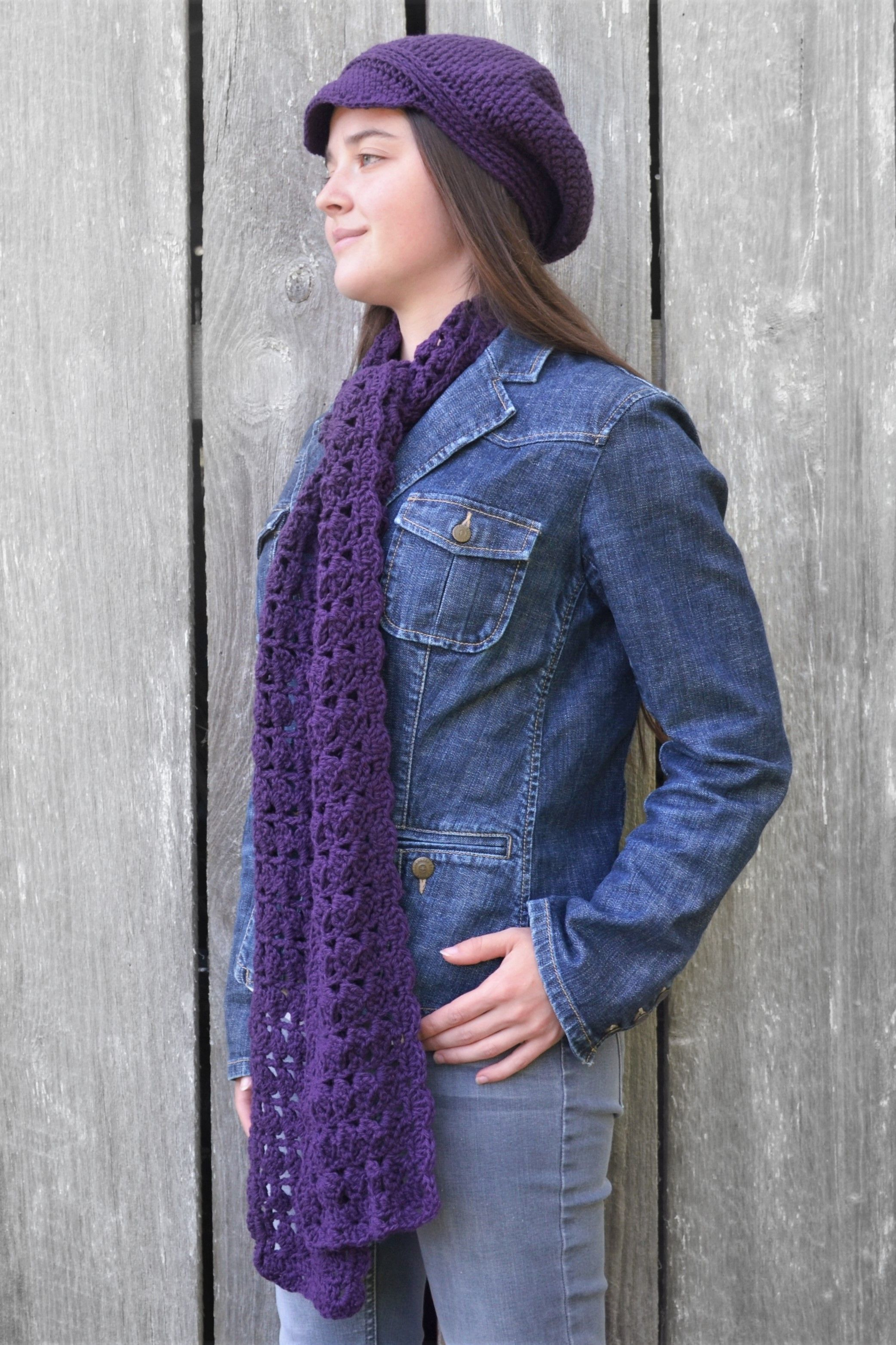 Women's winter scarf and newsboy cap, wool scarf and hat