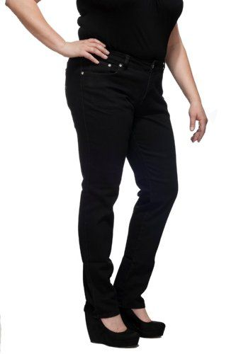 Women's Plus Sized Black Denim Stretch Jeans with Decorated ...