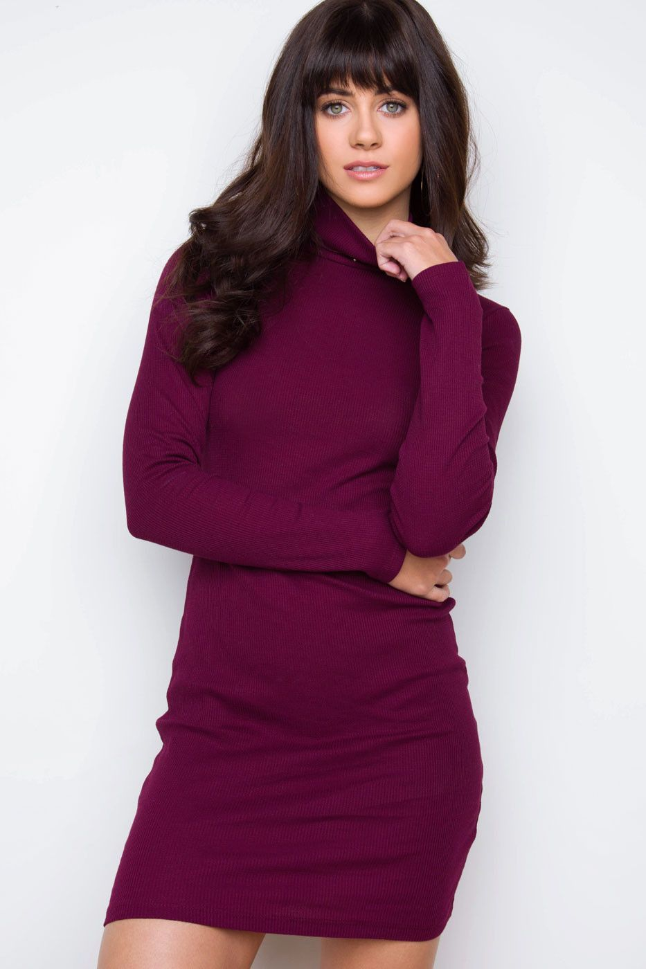 Dana Turtleneck Sweater Dress - Burgundy | Products | Pinterest