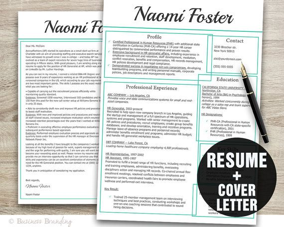 Resume Template Resume and Cover Letter by BusinessBranding - cover letter and resume templates for microsoft word