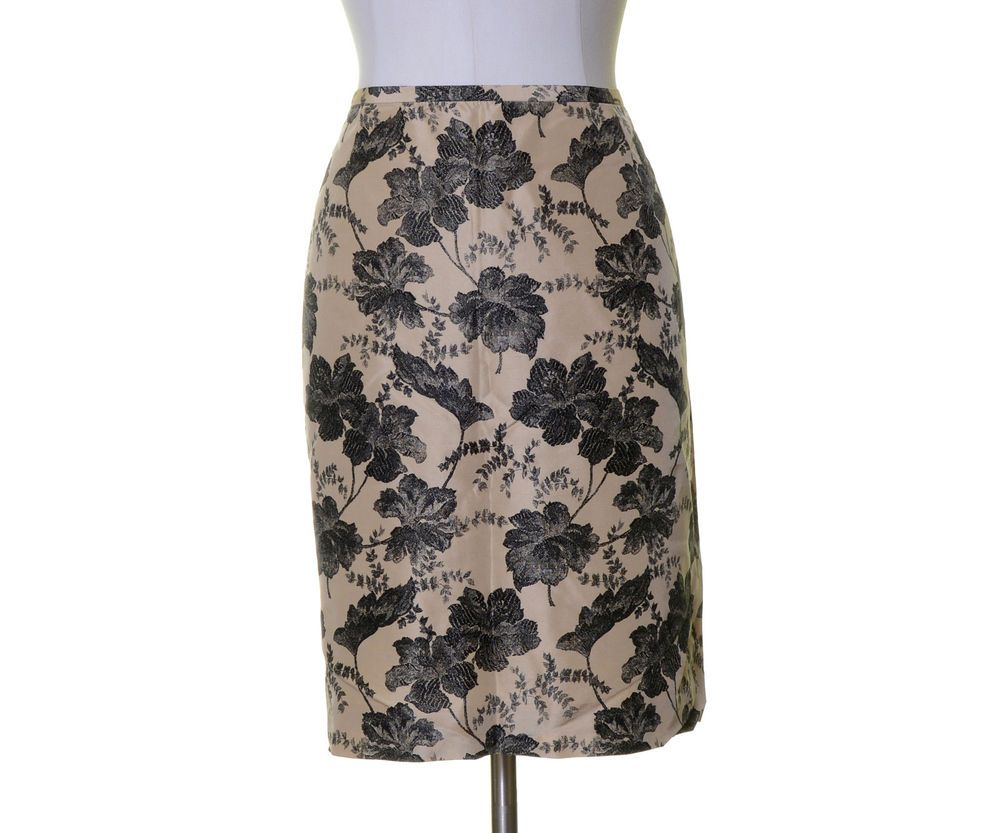 Ann Taylor Champagne Beige Black Floral Silk Lined Straight Skirt Size 16 #AnnTaylor #Straight
