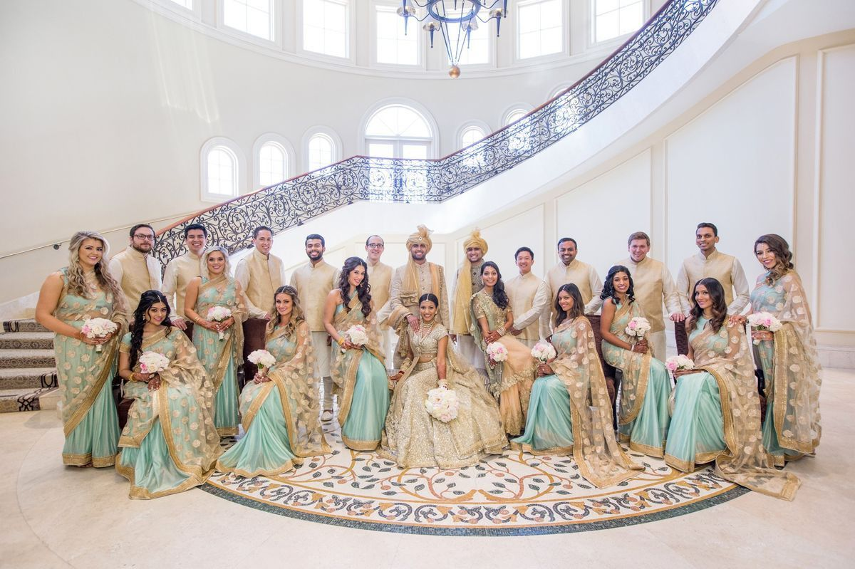 Color Coordinated Wedding Guests Friends Pick Your Wedding Day Color Indian Bridal Party Indian Bridesmaid Dresses Indian Wedding Bridesmaids [ 799 x 1200 Pixel ]