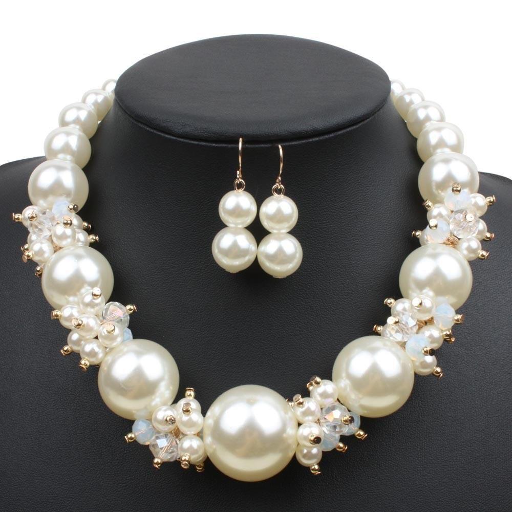 Big pearls crystal jewelry set fashion imitation pearl