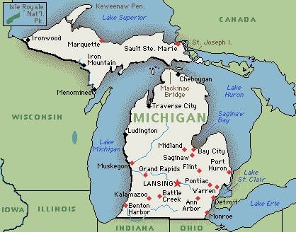 Map Of Michigan And Canada Border Map of Michigan   I like to ask my students which states border