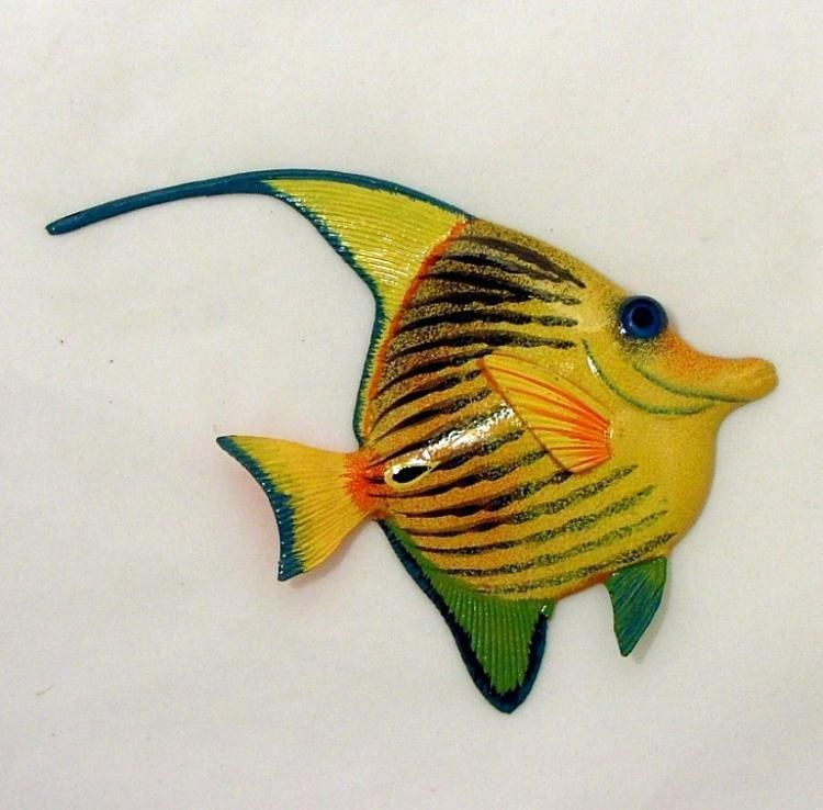 Tropical Bright Yellow Striped Angel Fish Hanger Wall Décor ...