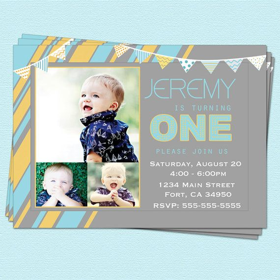 First St Birthday Invitations Boy Modern First By CupcakeDream - Digital first birthday invitation