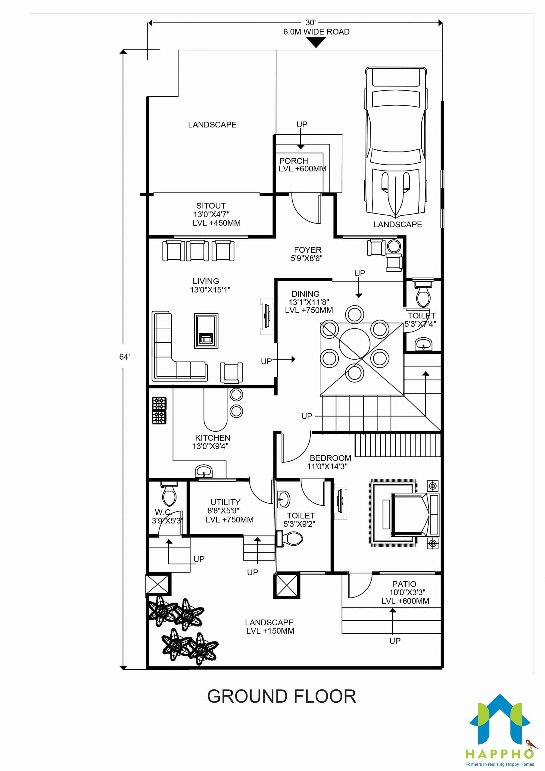 16 Foot Wide House Plans Lovely Floor Plan For 30 X 65 Feet Plot House Plans Unique Floor Plans Bungalow Style House Plans