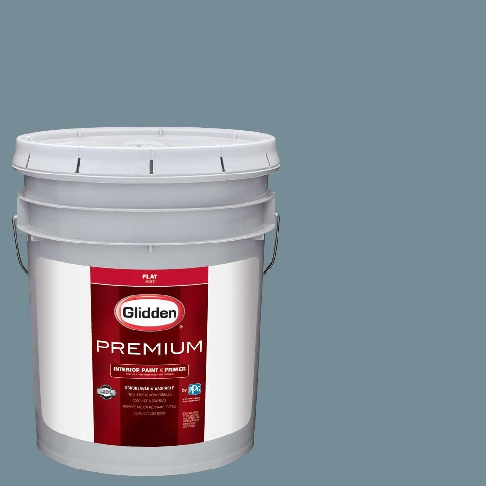Glidden Premium 5 gal. #HDGB52U Stormy Sky Blue Flat Interior Paint with Primer