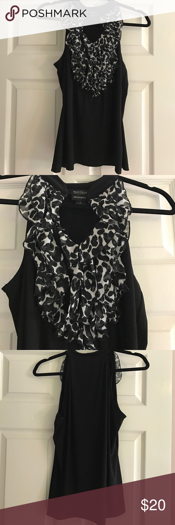 Great WHBM Ruffled Tank. Animal print ruffles cascade down the front of this tank with a slight V-neck design. Black microfiber fabric makes this the perfect layering piece to wear to the office w/ a blazer & alone for drinks afterwards. Excellent condition. White House Black Market Tops Tank Tops
