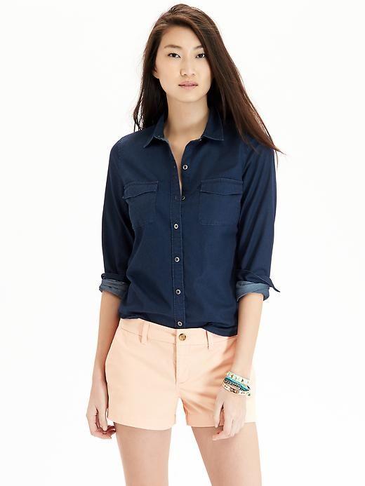 0efe261fac Women s Chambray Shirts-Old Navy Cute dark denim shirt