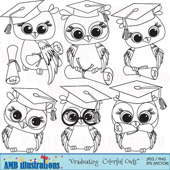 Graduation owl clipart owl digital stamps coloring page black and white line diploma and graduation cap commercial use amb 367